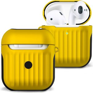 Hoes Voor Apple AirPods 2 Hoesje Case Hard Cover Ribbels - Geel