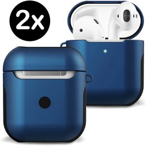 Hoesje Voor Apple AirPods 1 Case Hard Cover - Donker Blauw - 2 PACK