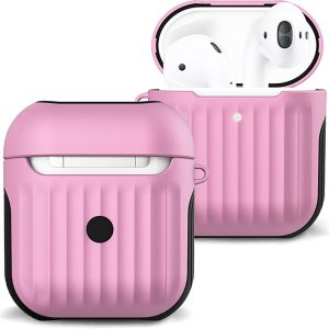 Hoesje Voor Apple AirPods 2 Case Hoes Hard Cover Ribbels - Licht Roze