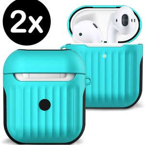Hoesje Voor Apple AirPods Case Hoes Hard Cover Ribbels - Mint Groen - 2 PACK