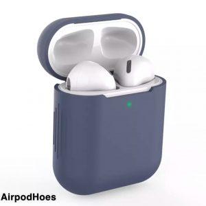 Siliconen Bescherm Hoes Cover Case Voor Apple AirPods - Donker Blauw