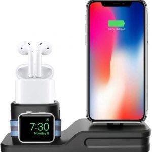 Siliconen dock voor opladen iPhone, Airpods en Apple Watch - Zwart