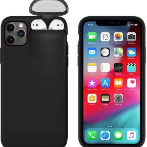 Telefoonhoesje met AirPods Case voor iPhone 11 - Telefoonhoesjes - Iphone 11 Pro hoesje - Airpods Hoesje - Airpods hoesje telefoon - Hoesje met AirPods case holder op telefoon 2 in 1