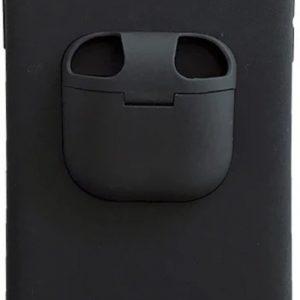 Telefoonhoesje met AirPods doosje voor iPhone XR - Hoesje met AirPods case holder op telefoon 2 in 1 - Zwart