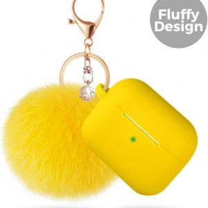 Apple Airpods Pro Siliconen Case Hoesje - Fluffy Beschermhoes - Geel