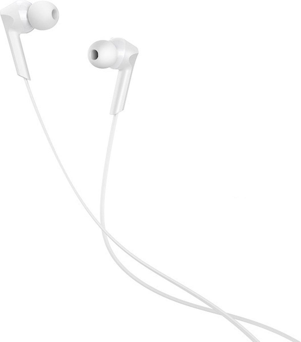 Hoco in-ear oordopjes 3.5mm Jack Plug - 1.2m - Hi-Res Audio + HD Mic - Wit