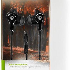 Nedis premium stereo in-ear sport earphones met microfoon / zwart - 1,2 meter