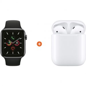 Apple Watch Series 5 40mm Space Gray Zwarte Sportband + Apple AirPods 2