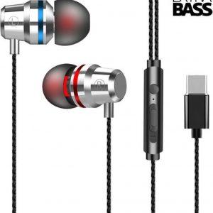 DrPhone - SoundLUX - In-Ear Bedrade Oordoppen met USB-C Aansluiting - Earbuds - Hoge BASS - Metal Grey