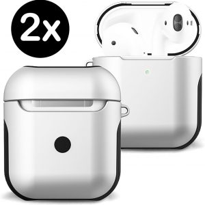 Hoes Voor Apple AirPods Case Hoesje Hard Cover - Wit - 2 PACK