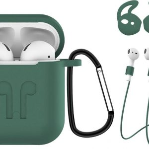Hoes voor Apple AirPods Hoesje Case 3-in-1 Siliconen Cover - Midnight Green