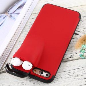 Let op type!! iPhone 7 Plus & 8 Plus TPU + Kunststof back cover Hoesje met opbergruimte voor AirPods (rood)