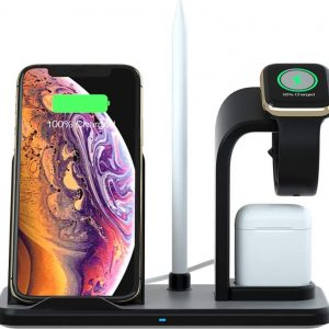 Oplaadstation 4in1 - Draadloos Oplader iPhone, Apple Watch, Airpods en Apple Pencil - Qi Wireless Charger