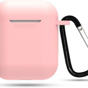 Siliconen case   geschikt voor airpods   karabijnhaak   licht roze