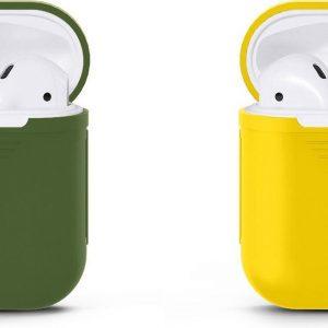 VOORJAARSACTIE Voordeelset 2 stuks Apple Airpods Siliconen - Case - Cover - Hoesje - Geschikt voor Apple Airpods 1 en 2 - Donker Groen / Geel