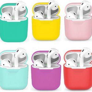 6 Siliconen case's geschikt voor apple AirPods- Roze,Turquoise,Rood,Paars,geel