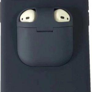 Let op type!! Voor iPhone 11 Liquid silicone shock proof beschermhoes met Apple AirPods geval (donkerblauw)