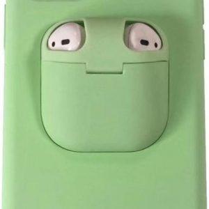 Let op type!! Voor iPhone 11 Pro Max Liquid silicone schokbestendige beschermhoes met Apple AirPods geval (mintgroen)