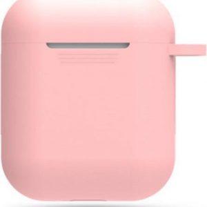 AirPods Hoesje Siliconen Case - Roze - Geschikt voor Apple AirPods 1 en 2 - AirPods case met lus