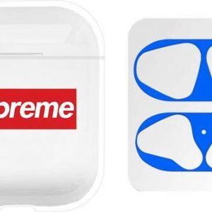 AirPods hoesje Sup + blauwe anti stof sticker voor AirPods 1 en 2 - Transparant/ Wit/ Rood/ Blauw - Beschermhoes - dust guard - AirPods accessoire