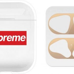 AirPods hoesje Sup + gouden anti stof sticker voor AirPods 1 en 2 - Transparant/ Wit/ Rood/ Goud - Beschermhoes - dust guard - AirPods accessoire