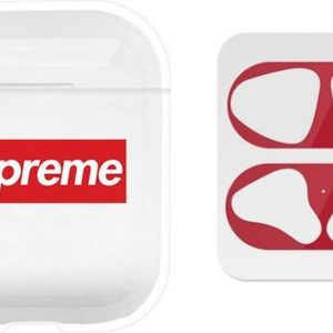 AirPods hoesje Sup + rode anti stof sticker voor AirPods 1 en 2 - Transparant/ Wit/ Rood/ Rood - Beschermhoes - dust guard - AirPods accessoire