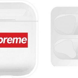AirPods hoesje Sup + zilveren anti stof sticker voor AirPods 1 en 2 - Transparant/ Wit/ Rood/ Zilver - Beschermhoes - dust guard - AirPods accessoire