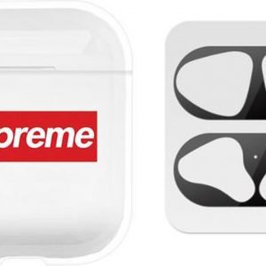 AirPods hoesje Sup + zwarte anti stof sticker voor AirPods 1 en 2 - Transparant/ Wit/ Rood/ Zwart - Beschermhoes - dust guard - AirPods accessoire
