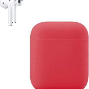 Apple AirPods Siliconen Hoesje   Rood   Bescherm Hoesje   Case Apple AirPods 1 en 2