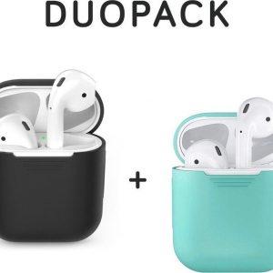 COMBI DEAL - Siliconen Bescherm Hoesjes Covers Zwart + Mint voor Apple AirPods 1 Case - DUOPACK