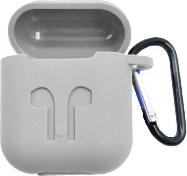2 in 1 set Hoesje voor Airpods siliconen case cover beschermhoes + earhoox - Wit