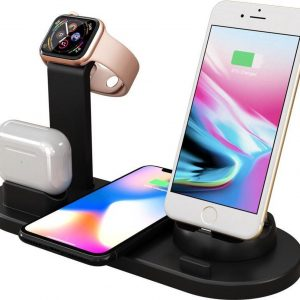 3 in 1 Dockingstation voor Apple, Samsung, iPhone, Apple Watch, Airpods, Android telefoons, Samsung watch en Galaxy Buds- oplaadstation- Wireless Charger - Qi Lader - oplaadstation Zwart