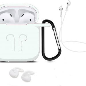 3 in 1 set! Hoesje voor Airpods siliconen case cover beschermhoes + strap + earhoox - transparant