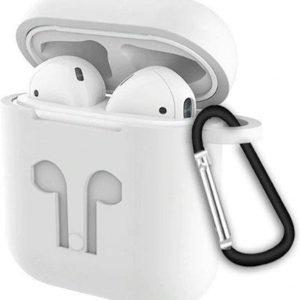 3 in 1 set! Siliconen hoesje voor Apple AirPods + strap voor Apple Airpods - Wit