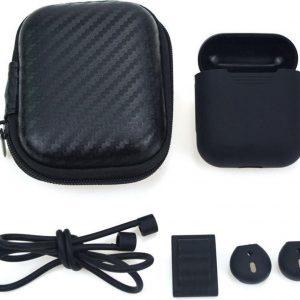 5 in 1 Silicone Protective Case Geschikt voor Apple AirPods - Zwart