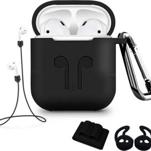5 in 1 set Siliconen case cover hoesje geschikt voor Apple Airpods - Zwart