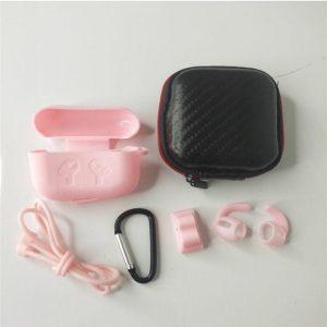 6 in 1 siliconen case met accessoires geschikt voor AirPods Pro - roze