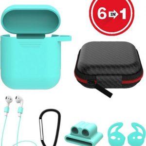 6 in 1 siliconen case met accessoires geschikt voor AirPods- mint groen