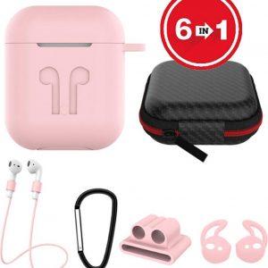 6 in 1 siliconen case met accessoires geschikt voor AirPods - roze