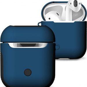 AirPods hoesje van By Qubix - AirPods 1/2 hoesje soft grip - hard case - blauw - Schokbestendig