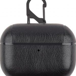 AirPods hoesje van By Qubix - AirPods Pro lederen hoesje Pro Leather series - Met bevestigingsclip - Zwart