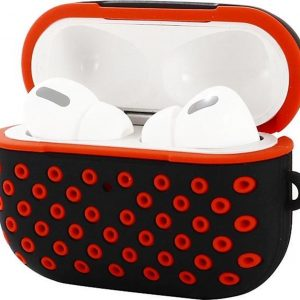 AirPods hoesje van By Qubix - AirPods Pro siliconen hoesje Holow series - Met bevestigingsclip - Zwart + rood