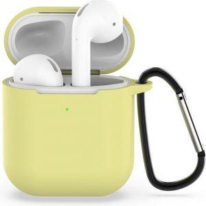 AirPods hoesje van By Qubix - AirPods siliconen case voor AirPods 1/2 - Geel + handige clip