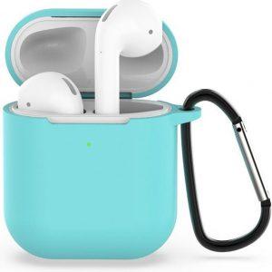 AirPods hoesje van By Qubix - AirPods siliconen case voor AirPods 1/2 - Mint groen + handige clip