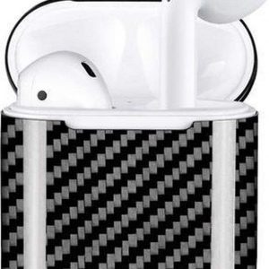 Airpods Carbon Beschermhoes - Cover / Case - Geschikt voor Draadloos opladen - Airpods 1 en Airpods 2 - Zwart