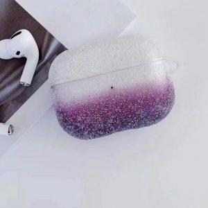 Airpods Case Cover - Glitters Wit Paars - Beschermhoes - Bescherm Etui inclusief karabijnhaak - Geschikt voor Apple Airpods Pro