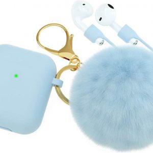 Airpods Case Silicone - Hoesje met Sleutelhanger en Pluche Bol - Blauw