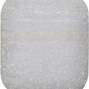 Airpods Hoesje   Airpods Case   Wit met Glitter Diamantjes (Zirkonia)