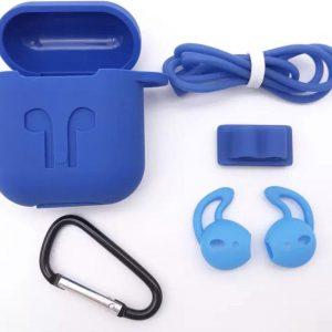 Airpods Hoesje Blauw - Siliconen Case Cover voor Apple Airpods - 5 in 1 set met Anti Lost Strap en Haak