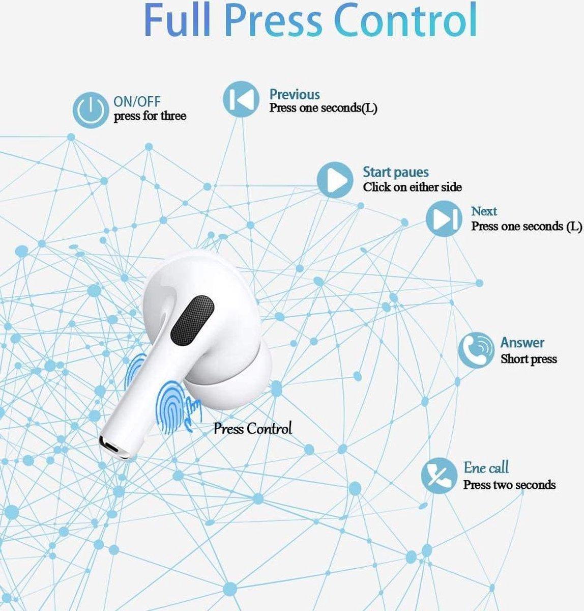 Airpods Pro Alternatief - Happy pods - High Quality 1562A - Wit - Air 3 pro Draadlose oordopjes - Bluetooth 5.0 - Geschikt voor Apple iPhone en Android smartphones -